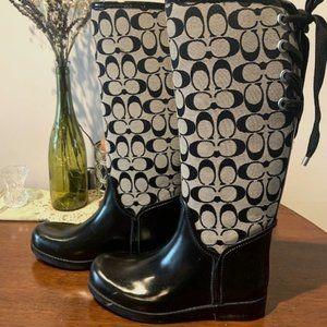 Coach Logo Tall Rain Boots Size 7